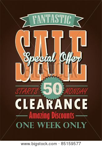 Sale Poster Vector Typography Design.