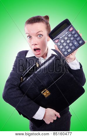 Nerd female accountant with calculator