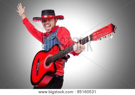 Guitar player isolated on the white
