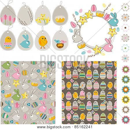 Big Easter collection with chickens,rabbits and eggs
