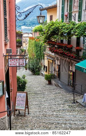 Bellagio, Italy - July 27, 2014: Cozy street in Bellagio on Como lake.