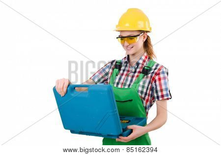 Woman with toolkit isolated on white