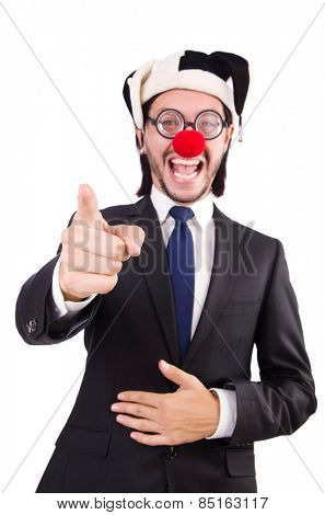 Businessman clown pointing isolated on white