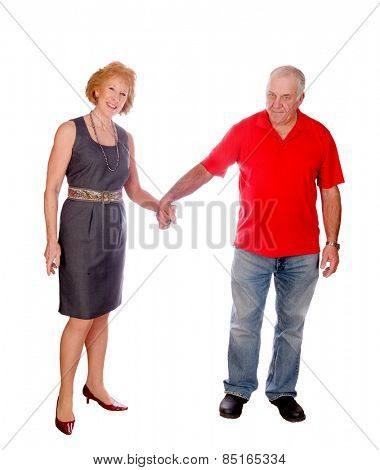 Happy senior Caucasian couple holding hands, isolated on white