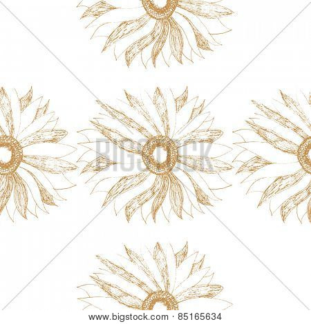 seamless vintage pattern with cute flower vector illustration