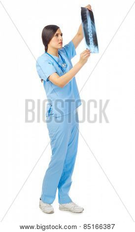 Doctor with x-ray isolated on white