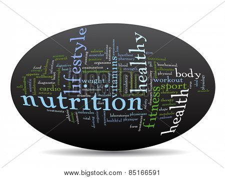Concept or conceptual abstract word cloud on black background as metaphor for health, nutrition, diet, wellness, body, energy, medical, fitness, medical, gym, medicine, sport, heart or science