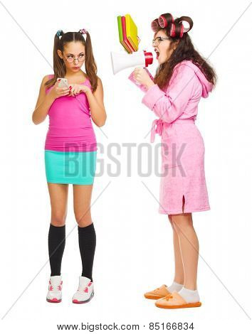 Anger mother screams to her daughter isolated