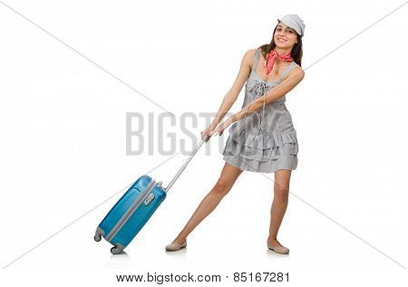 Woman with suitcase isolated on white