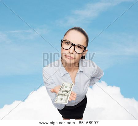 business, money and banking concept - smiling businesswoman in eyeglasses with dollar cash money