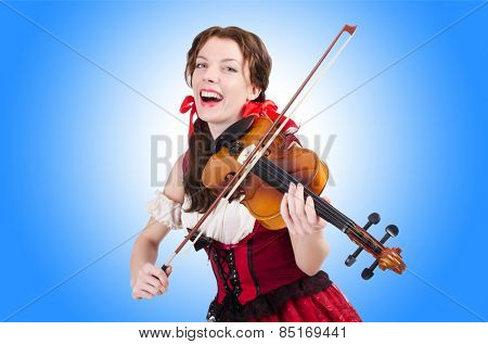 Woman with violin isolated