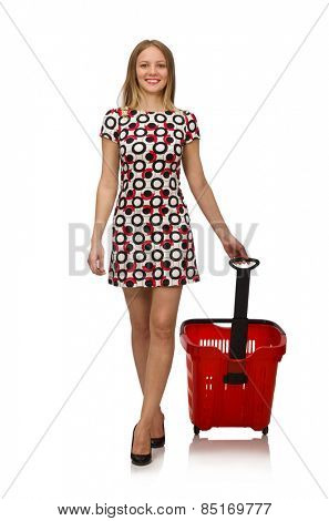 Woman in shopping concept isolated