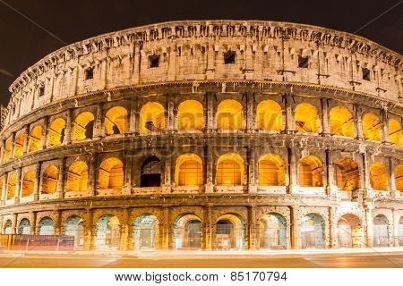 Famous colosseum during evening hours