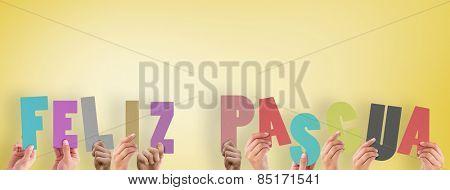Hands holding up feliz pasqua against yellow vignette