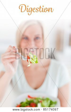 The word digestion against smiling woman offering salad