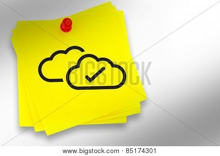 Clouds graphic against sticky note with red pushpin