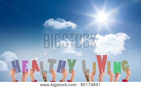 Hands holding up healthy living against bright blue sky with clouds