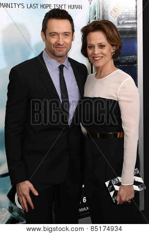 NEW YORK-MAR 4: Actors Hugh Jackman (L) and  Sigourney Weaver attend the premiere of