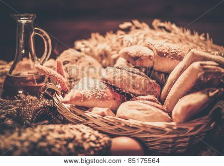 Basket with homemade baked goods on a table