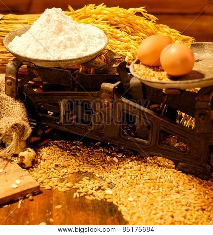 Scales among homemade baked goods on a table