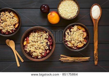 Baked Plum and Nectarine Crumble