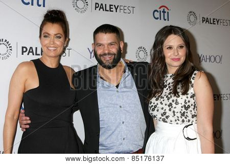 LOS ANGELES - MAR 8:  Bellamy Young, Guillermo Diaz, Katie Lowes at the PaleyFEST LA 2015 -