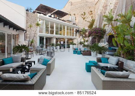 DUBROVNIK, CROATIA - MAY 28, 2014: Terrace of the Restaurant 360 degrees on old wall, the most trendiest lounge bar and restaurant in the old town.