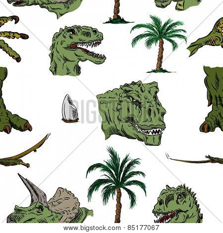 vector - color pattern of dino head, hand draw, isolated on background