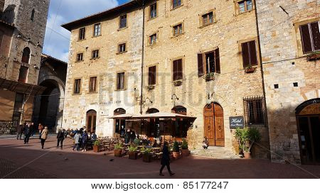 Tourists Visit San Gimignano, Italy