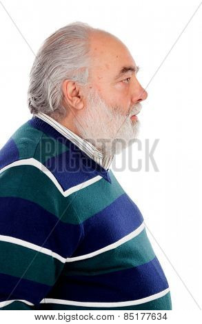 Profile of senior man with beard isolated on a white background