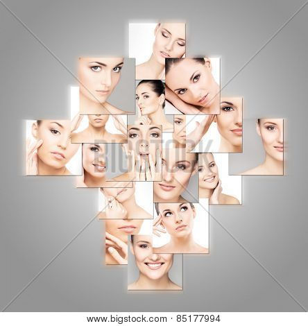 Collection of different female spa portraits. Face lifting, plastic surgery and makeup concept.