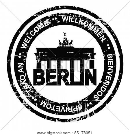 Berlin ink stamp grunge style. Vector illustration on white background.