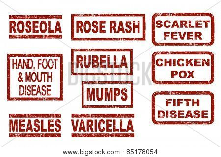 Set of typical childhood diseases. Grunge style ink stamps. Vector illustration on white background.