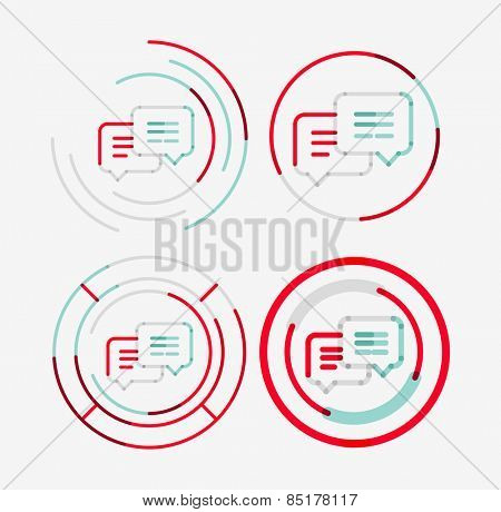 Thin line neat design logo set, clean modern concept, messages idea
