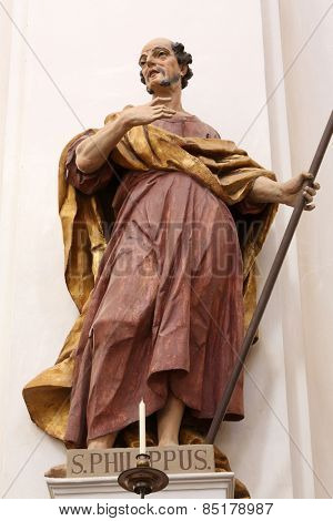 ELLWANGEN, GERMANY - MAY 07: Saint Philip the Apostle, Basilica of St. Vitus in Ellwangen, Germany on May 07, 2014.
