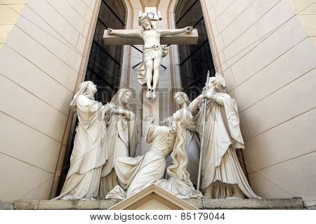 MARIJA BISTRICA, CROATIA - JULY 14: Crucifixion, Basilica Assumption of the Virgin Mary in Marija Bistrica, Croatia, on July 14, 2014