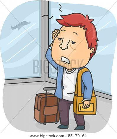 Illustration of a Man Tired from Traveling for Long Hours