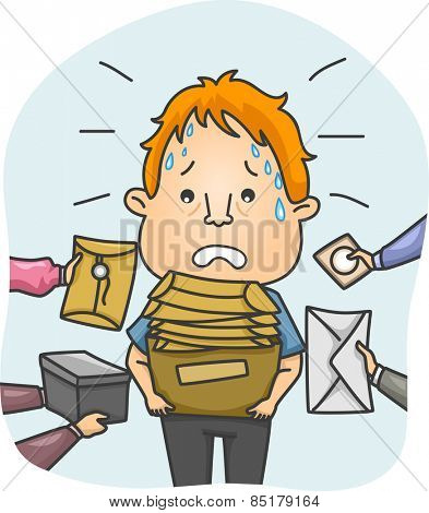 Illustration of a Tired and Sweaty Messenger Overwhelmed by Packages