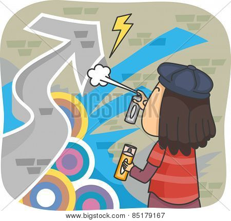 Illustration of a Male Graffiti Artist Spraying Paint on a Wall
