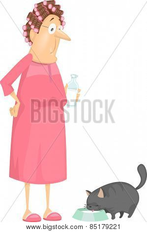 Illustration of a Woman Giving Milk to Her Pet Cat