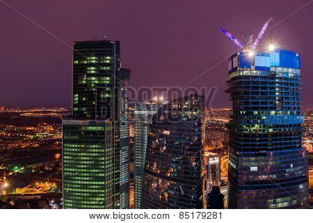 MOSCOW, RUSSIA - MAR 11, 2014: Towers of Moscow City business complex. Moscow City include area of business activity, which will bring together business, apartment