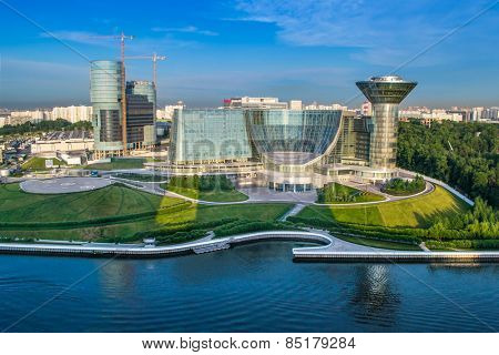 MOSCOW, RUSSIA - JUNE 7, 2014: Modern building of Moscow Region Government. Complex was built in 2004 - 2007