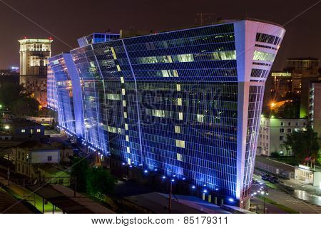MOSCOW, RUSSIA - MAY 13, 2014: Business complex Legion 3. Futuristic building business center built in 2008