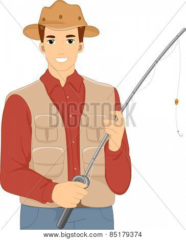 Illustration of a Man Holding in a Vest and Matching Hat Holding a Fishing Rod