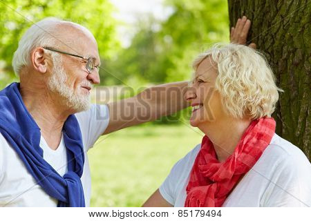 Two happy senior people talking and flirting in a park