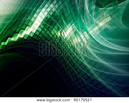 Abstract digital technology background. Green over black.