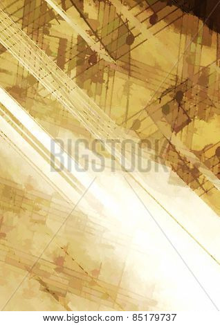 Abstract grunge background with musical symbols