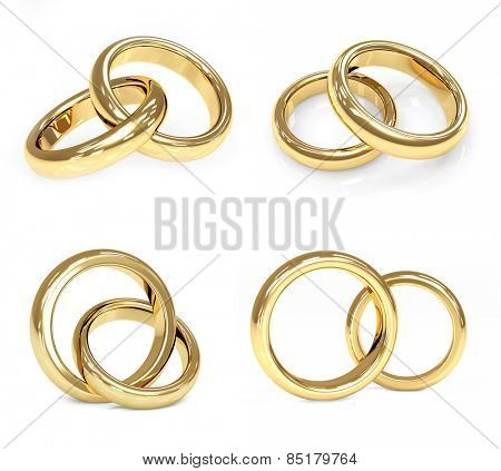 Collection of gold wedding ring. Objects isolated on white background