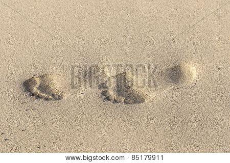 Footprints On Yellow Sand