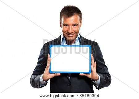 one  business man holding showing whiteboard in studio isolated on white background